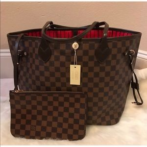 Louis Vuitton Neverfull MM Damier Ebene Tote Set